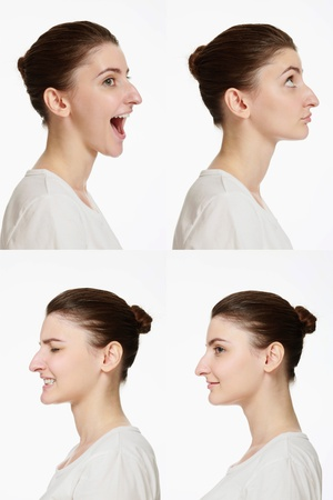 Montage of woman with different facial expression photo