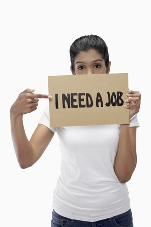 demotivated: Woman holding  I need a job  sign
