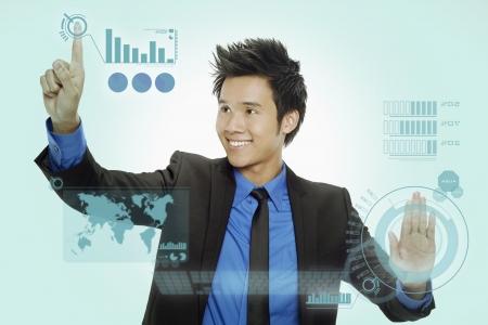 Businessman using digital screen Stock Photo - 17340173