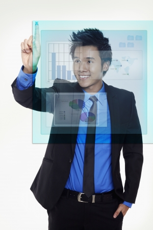 Businessman using digital screen photo