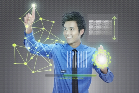Businessman using digital screen Stock Photo - 17340319