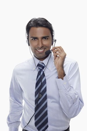 Businessman wearing headset Stock Photo - 17954572