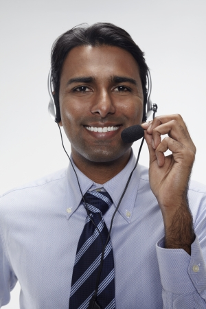 Businessman wearing headset photo