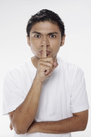 Man with finger on lips Stock Photo - 17962967
