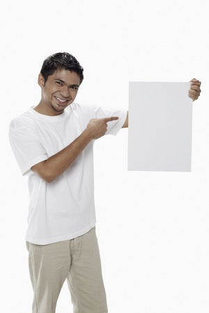 Man holding a blank placard Stock Photo - 17962907