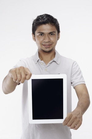 Man showing digital tablet photo
