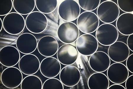 End-view of stacked pipes Stock Photo - 19025202