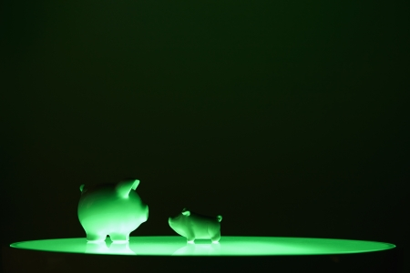 Two piggy banks facing each other Stock Photo - 19285021