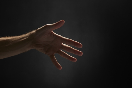hands out: Side view shot of a human palm
