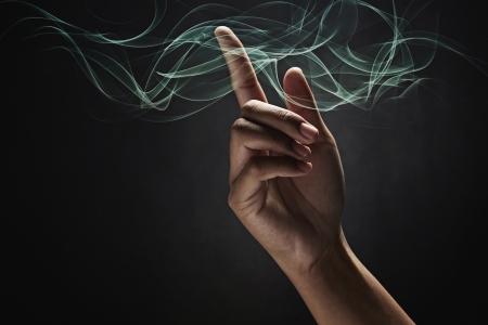 efectos especiales: La mano del hombre que apunta Foto de archivo