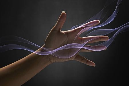 efectos especiales: La mano del hombre llegar Foto de archivo