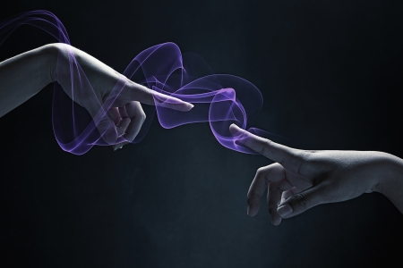 two people only: Human hands reaching out for each other