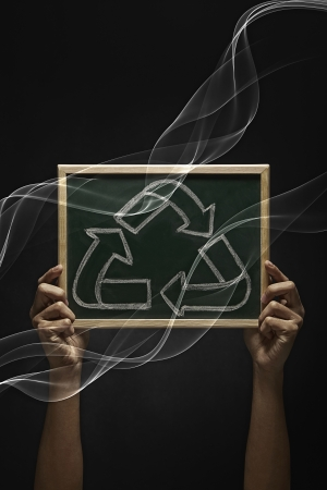 recycle logo: Blackboard with a Recycle logo on it