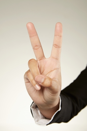 Two fingers held up photo