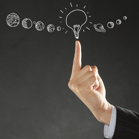 long sleeved: Index finger pointing at a light bulb illustration