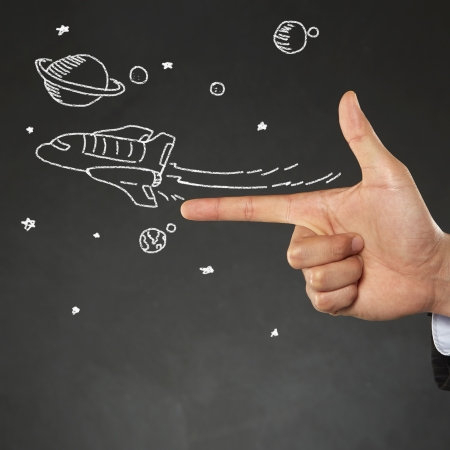 long sleeved: Illustration of a spaceship flying away Stock Photo