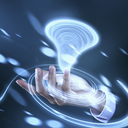 long sleeved: Graphic of a spinning tornado