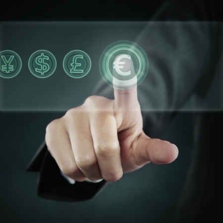 screen shot: Index finger pointing at a Euro symbol