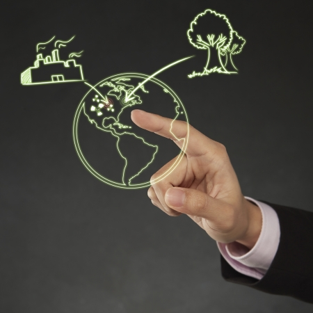 long sleeved: index finger pointing at a digital illustration Stock Photo