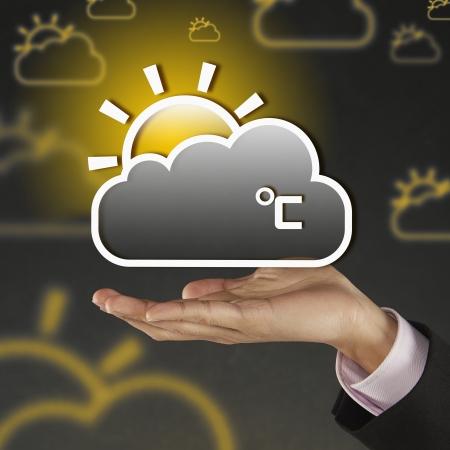 celcius: Digital graphic of a dark cloud and sun