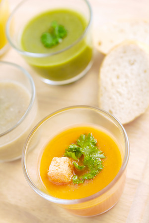 Close up of soup samplers Stock Photo