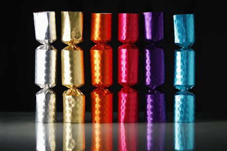 Colourful crackers in a row photo