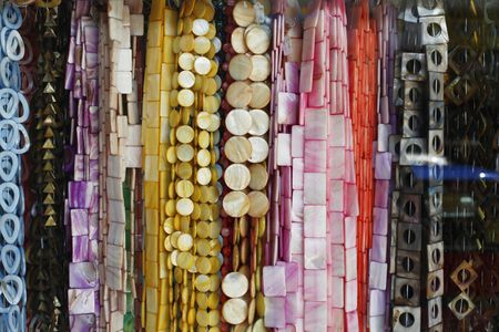 Rows of hanging shell accessories Stock Photo