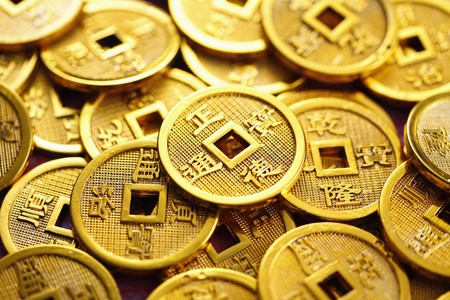 Gold chinese coins Stock Photo