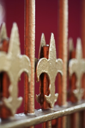 Close-up of metal gate photo