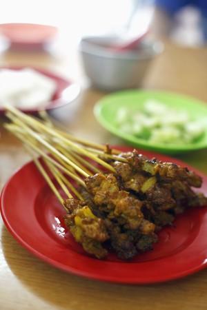 Grilled chicken skewer photo
