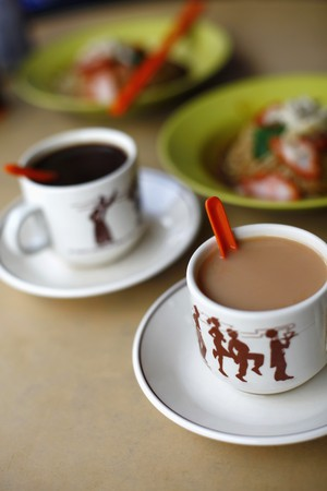 Asian noodles with hot drinks Stock Photo