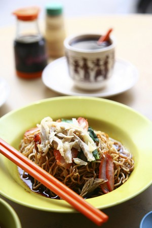 Asian noodles with hot coffee Stock Photo