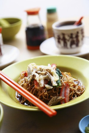 asian noodles: Asian noodles with hot coffee Stock Photo