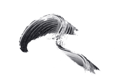 Black mascara brush strokes isolated on white Stock Photo