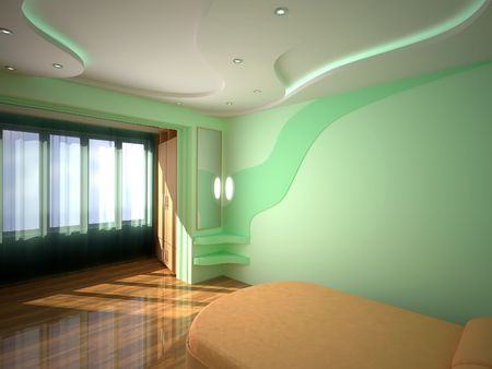 Interior bedroom. 3D design. Light - sun, neon and spotlights.