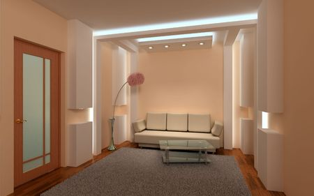 Interior beige lounge. 3D design. Light - neon and six spotlights.