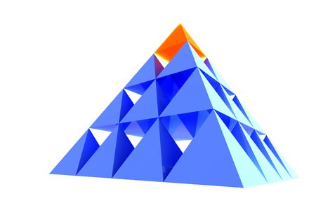 Abstract blue glass pyramid with orange top.Business Concept - leadership, achievement and different;Marketing Concept - best choice, first;Organization Ideas - individuality, success, career.