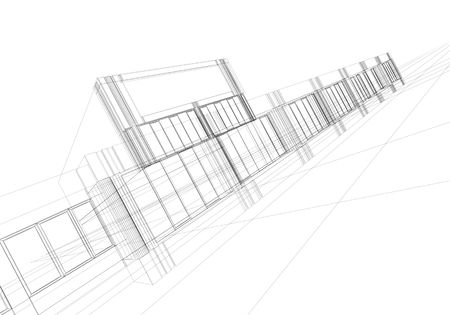 girders: architectural abstraction - 3D rendering wireframe, white background
