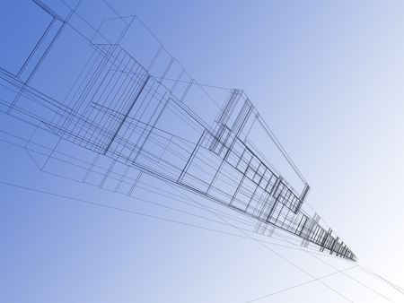 architectural abstraction - 3D rendering wireframe,blue background