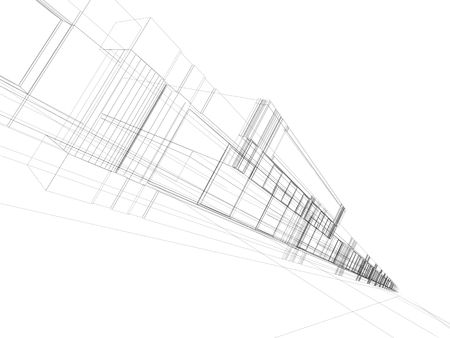architectural abstraction - 3D rendering wireframe, white background photo