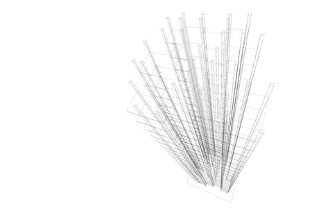 skyscrapers: 3D Architectural wireframe abstract. Isolated. Concept - building, architecture, construction and skyscrape.