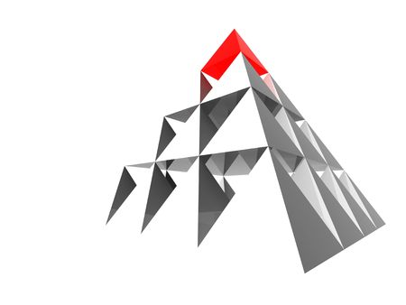 attainment: Abstract steel pyramid with red top. Business Concept - leadership, achievement and different; Marketing Concept - best choice, first; Organization Ideas - individuality, success, career.