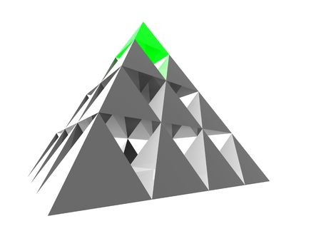 individuality: Abstract steel pyramid with green top. Business Concept - leadership, achievement and different; Marketing Concept - best choice, first; Organization Ideas - individuality, success, career.