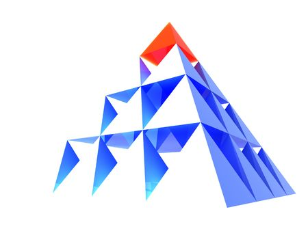 individuality: Abstract blue glass pyramid with red top. Business Concept - leadership, achievement and different; Marketing Concept - best choice, first; Organization Ideas - individuality, success, career.