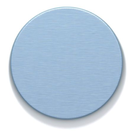 machined: 3D rendered metal round plate with machined surface. Computer-generated texture azure color. Isolated element for design.