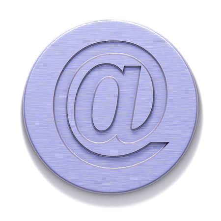 3D rendered purple metal plate with a badge of e-mail. Isolated element for design. photo