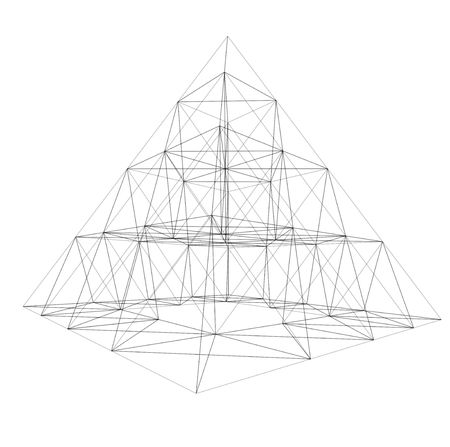 foundation: 3D frame of pyramid. Conception of architecture and design.