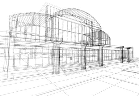 3D rendering wireframe of office building, white background. Concept - modern architecture, designing. photo