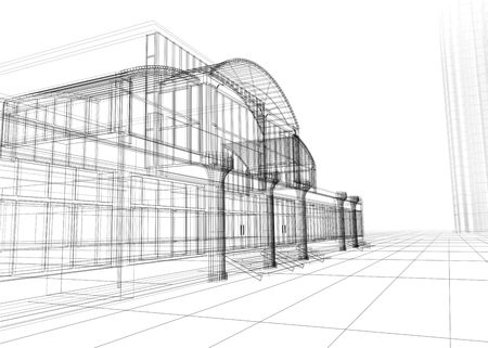 3D rendering wireframe of office building, white background. Concept - modern architecture, designing. Stock Photo