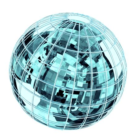 Globe with reflection of  high technologies abstraction. Stock Photo